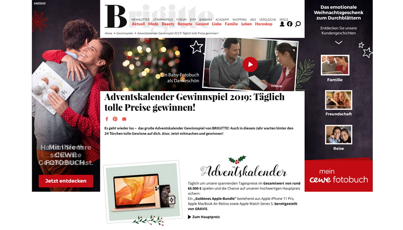 Brigitte Adventskalender homepage