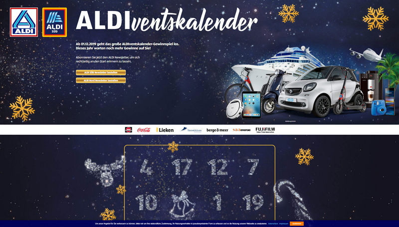 aldi adventskalender homepage