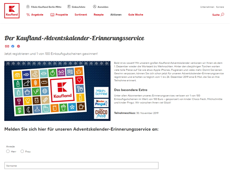 kaufland adventskalender homepage