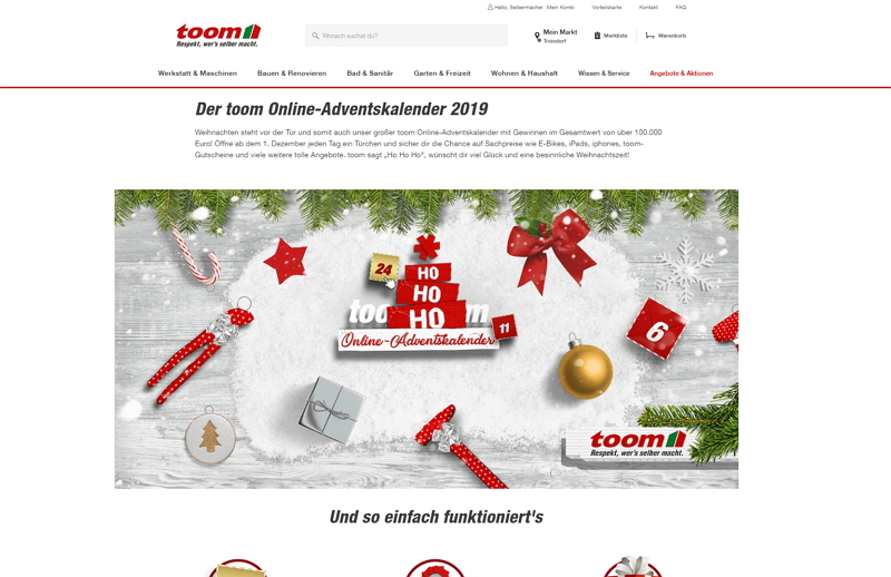 toom adventskalender homepage