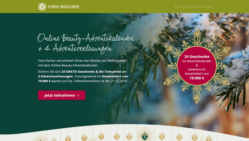 yves rocher adventskalender homepage